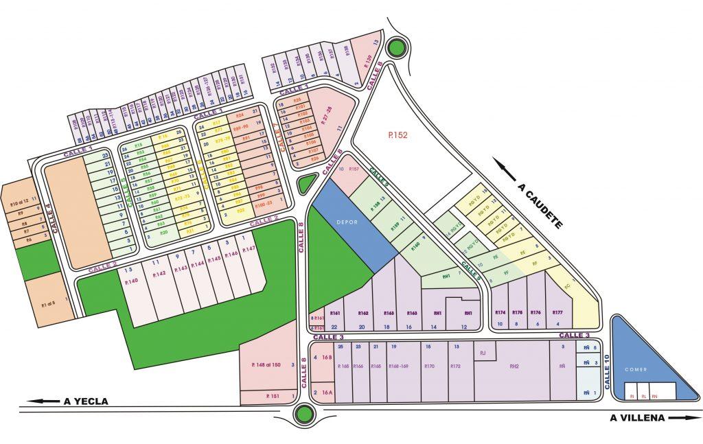 Plano Polígono Industrial El Rubial de Villena